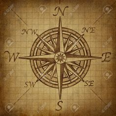 Compass Rose With Old Vintage Grunge Texture Representing A ...