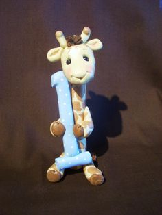 giraffe cake topper polymer clay personalized children by clayqts, $25.95