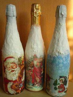 Новогодние и рождественские идеи для декупажа стеклянных бутылок