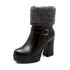 AllhqFashion Women's PU Blend Materials High-Heels Boots with Thread and Chunky Heels, Black, 40 *** Continue to the product at the image link.