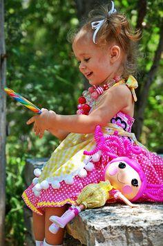 Customized OOAK Sugar Crumbs Custom Lalaloopsy Doll Costume Halter Apron Dress Super Twirly. $65.00, via Etsy.
