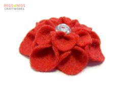 Felt Dahlia Barrette : Crimson Red by MissNissCraftworks