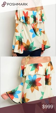COMING SOON!! Cream Floral Off Shoulder Top Floral off the shoulder top. You can wear this with anything and for just about any occasion. 92% polyester and 8% spandex. boutique Tops