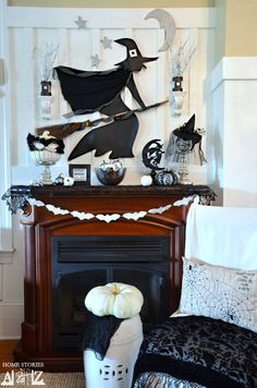 Do it yourself Halloween Mantel with tutorial on how to make the witch from shelf liner.