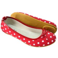 Red Polka Dot Flat Pump Shoes