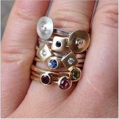 Get them with diamonds, get them with topaz or get then with rubies. Our rings will look great on you no matter what stone you pick. #gemstones #diamonds #lovegold #lovesilver #ringstacks #birthstones #loverings