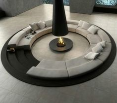 Furniture Blue Lounge Design Also Black White Circular Conversation Pit Central Fireplace Modern Furniture Living Room Sets Ashley Various Seating Chairs Lounge Small Living Spaces Area Modern Interior Design, Interior And Exterior, Interior Ideas, Modern Interiors, Living Room Designs, Living Spaces, Living Rooms, Conversation Pit, Sunken Living Room