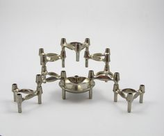 Set of 7 space age candle holders plus bowl designed by decirculo