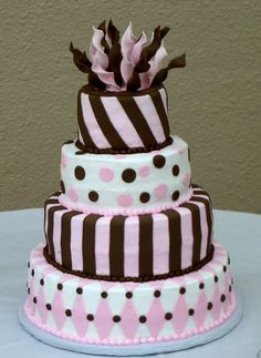 fun fondant cake with brown and pink