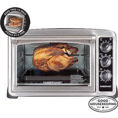 "FARBERWARE Convection CounterTop Oven, Stainless Steel, walmart $50. Model# 103738. Dimensions: 19.68""L x 16.53""W x 14.57""H"