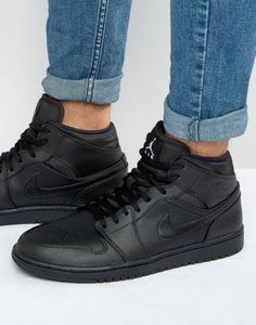 Nike Jordan Air Jordan 1 Sneakers In Black - Black from ASOS - Sneakers by Jordan, Supplier code: Leather upper, Hi-top design Black High Top Shoes, Mens High Top Shoes, Mens High Tops, Leather High Tops, Leather Men, All Black Sneakers, High Top Sneakers, Sneakers Nike, Real Leather