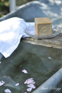 Little haven ... outdoor basin & glass soap dish, cradling a homemade soap block #soaps #homemade soaps #outdoor basin