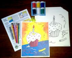 Cupcake painting kit for children's parties (adults like it also). Can be used as your take home goodie bag also.  You get a full color painted image and 8 black outlined cupcake images on quality water color paper. Step by Step instructions, paints and 8 brushes and ribbon to hang your masterpiece. AND glitter pens. $19.99 each kit that is only $2.50 per child!!. Additional painting sheets and invitations available separately.  To order…