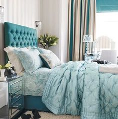 House of Turquoise: Bedroom with turquoise tufted headboard Tiffany Blue Bedroom, Interior, Home Bedroom, Gorgeous Bedrooms, Blue Accents Bedroom, Home Decor, Bedroom Inspirations, Blue Bedroom, Home Interior Design