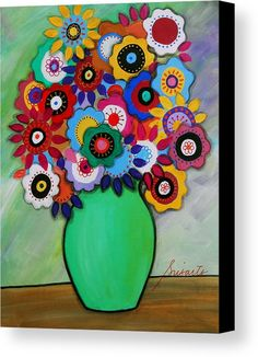 Prisarts Florals IIi Art Print by Pristine Cartera Turkus. All prints are professionally printed, packaged, and shipped within 3 - 4 business days. Choose from multiple sizes and hundreds of frame and mat options. Folk Art Flowers, Abstract Flowers, Flower Art, Arte Floral, Motif Floral, Original Paintings For Sale, Naive Art, Mexican Folk Art, Whimsical Art