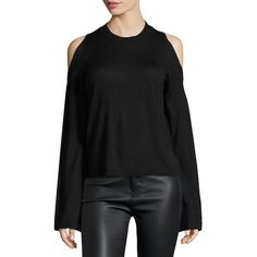 10 Crosby Derek Lam Bell-Sleeve Cold-Shoulder Silk-Cashmere Sweater ($345) ❤ liked on Polyvore featuring tops, sweaters, black, women's apparel sweaters, crew neck sweaters, long sweaters, silk cashmere sweater, j.crew cashmere sweaters and ribbed sweater