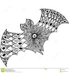 Zentangle Totem Bat Adult-stress Coloring Page. Stock Vector - Illustration of halloween, flight: 92579982