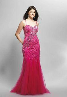 Fit N Flare Spaghetti Straps Floor Length Dropped Tulle Dresses For Prom - 1300104635B - US$152.99 - BellasDress