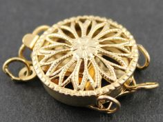 Gold Filled Round Filigree Clasp with 3 Ring1 Piece by Beadspoint, $12.00