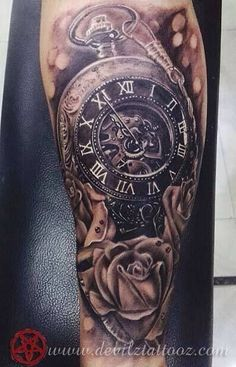 Image result for full sleeve clock tattoo