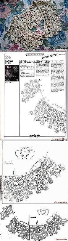 Collar kryuchkom- who knitted like ? Help in knitting & quot; - Home Moms Crochet Collar Pattern, Col Crochet, Crochet Lace Collar, Crochet Borders, Crochet Chart, Thread Crochet, Filet Crochet, Irish Crochet, Crochet Motif