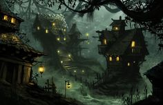 Haunted Witch Village Fantasy landscape Fantasy town Fantasy village