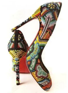 Modern ~ Colorful Beaded high Heels Shoes