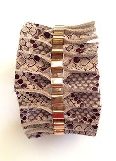 Snakeskin print bracelet Genuine Italian leather cuff by Shulili4U