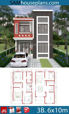 House Plan Discover House Plans with 3 Bedrooms - SamHousePlans House Plans with 3 Bedrooms - Sam House Plans 3 Storey House Design, Bungalow House Design, House Front Design, Small House Design, Duplex House Plans, New House Plans, Dream House Plans, Narrow House Designs, Small Modern House Plans