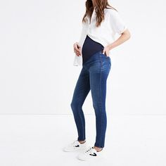 Our signature lean, sexy fit returns with a comfy, over-the-belly stretch panel. Made of our a soft-to-the-touch denim woven with Tencel® lyocell, these pull-on jeans won't bag out or slip down as you go through your day—and that rearview? So, so good. The moms-to-be around our office give 'em a thumbs up (and recommend this supportive style for the second or third trimester). <ul><li>Premium 44% cotton/42% Tencel® lyocell/13% poly/1% elastane denim from the...