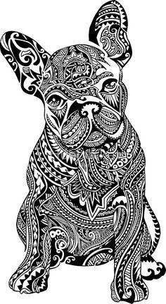 'Polynesian French Bulldog' iPhone Case by Huebucket French Bulldog Tattoo, French Bulldog Art, Bulldogge Tattoo, Hippe Tattoos, Photo Stitch, Doodles Zentangles, Mandala Art, Doodle Art, Art Drawings