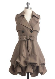 Stormy weather on a muggy day? Try this dress with it's trench coat appeal. Beautiful curves with it swelled and bunched bottom.