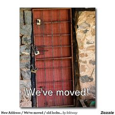 New Address / We've moved / old locked door Postcard