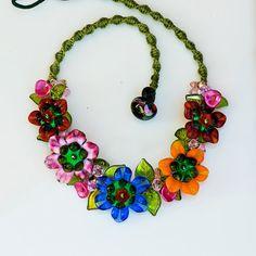 SALE Flower Garden Necklace Handcrafted Glass by conbriobeads, $127.00