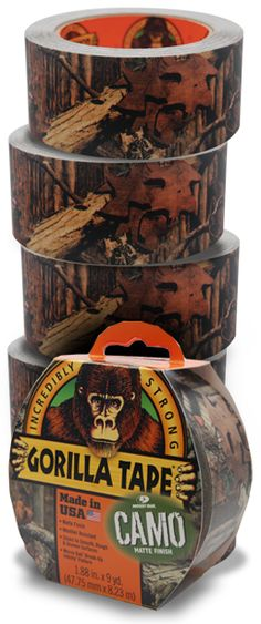 Gorilla Glue - Gorilla Tape Camo.  Made in the USA by the Gorilla Glue Company located in Cincinnati! Great tie-in for those of you selling Mossy Oak apparel.  Available through leading supply distributors.