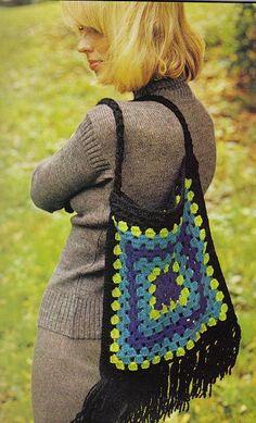 vintage granny square bag