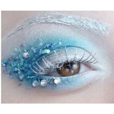 Emily essentially beauty ice queen makeup tutorial icy shimmer next we have a makeup idea that looks fit for an ice princess the eyes feature a wintry blue shadow with a sweep of silver glitter ice make up Fantasy Hair, Fantasy Makeup, Fairy Makeup, Makeup Art, Makeup Ideas, Mermaid Makeup, Mermaid Eyes, Unicorn Makeup, Ice Queen Makeup
