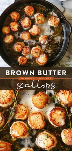 12 reviews · 30 minutes · Gluten free Paleo · Serves 4 · This seafood dish takes just 5 ingredients and 30 minutes of your time! Perfectly seared in brown butter with garlic and thyme, this scallops recipe is so fancy and divine. Serve as an appetizer or a… Seafood Dishes, Fish And Seafood, Seafood Recipes, Fish Recipes, Easy Dinner Recipes, Easy Meals, Yummy Recipes, Dinner Ideas, Recipes