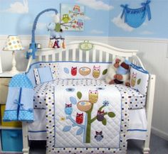 Bright blue, brown, and yellow dots are the home for a fun colorful owl family!