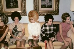 Here is an old photograph of a group of five ladies sitting on a couch that was taken sometime during the early 1970's....
