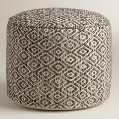 Brown and White Diamond Wool Pouf $100