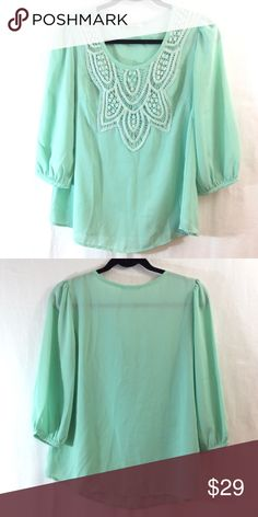 Gaudy Me mint green top with crochet neckline Good condition. Like multiple items I have available? When you bundle 3 items from my closet in the same transaction, you get a discount and only pay shipping ONCE!! When you bundle 4+, you get that PLUS a FREE GIFT! *Free gift increases in value with each additional item bundled* Gaudy Me Tops