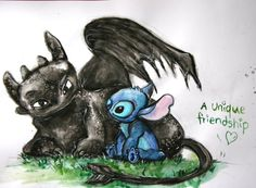 Stitch and Toothless by asphaltflowers on DeviantArt