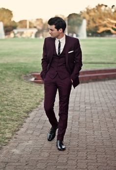 Burgundy three piece #suit #menswear #wedding LOVE this suit! Groom Attire, Groom Wear, Groom Outfit, Wedding Suit Rental, Wedding Suits, Wedding Dress, Bridal Dresses, Wedding Ceremony, Burgundy Wedding