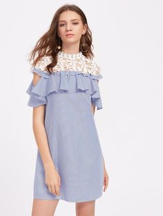 SheIn offers Floral Crochet Shoulder Open Shoulder Flounce Dress & more to fit your fashionable needs. Casual Day Dresses, Simple Dresses, Girls Dresses, Kaftan Designs, Western Dresses, Mode Hijab, Latest Dress, Cotton Dresses, Tunic Dresses