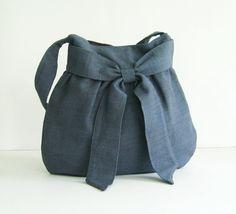 Grey Hemp/Cotton Bag  Half Bow by tippythai on Etsy, $32.00