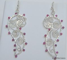 Sterling Silver and Garnet Filligree by GibsonWireCreations, $57.00
