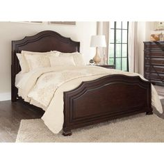 The Signature Design by Ashley Brulind Arched Wood Panel Headboard dresses up your bedroom with a warm brown finish, ball-shaped feet, and angled. Bedroom Furniture Stores, Bed Furniture, Furniture Sale, Furniture Design, Antique Furniture, Living Room Sets, Bedroom Sets, Bedroom Decor, Bedrooms
