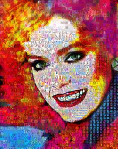 """NancyCollage: Paint and Digital on Canvas.  Size: 60 H x 50 W x 2 in  You have to eventually grow up and take control of your life, which is very hard to do."""" Farrah Fawcett made out of abstracts"""