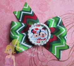 Minnie Mouse hair bows Mickey Mouse bottle cap chevron pinwheel hair clip disney girls red headband cute winter wonderland vacation
